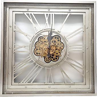 Square 80cm Roma moving cogs clock - Silver