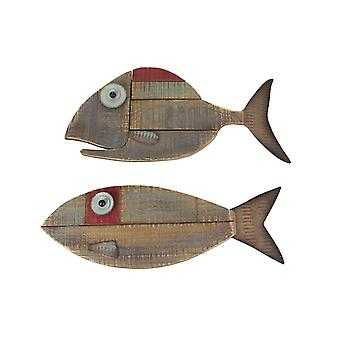 Set of 2 Weathered Natural Wood Fish Decorative Hanging Wall Plaques