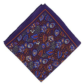 Michelsons of London Garden Floral Silk Pocket Square - Purple