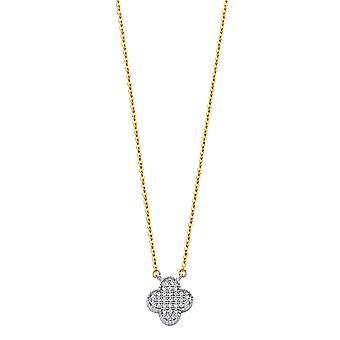 14k Guld CZ Cubic Zirconia Simulerad Diamond kryddnejlika halsband smycken gåvor för kvinnor - 1,8 gram
