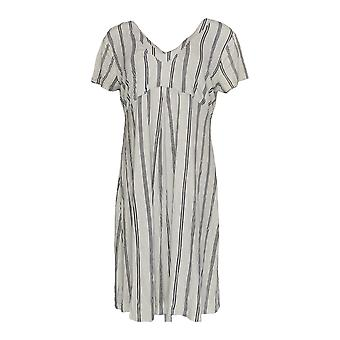K Jordan Dress Pleated Stripe Printed Short Sleeve White / Black