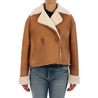 Loewe S359330xb83130 Women's Beige Leather Outerwear Jacket