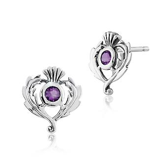 Art Nouveau Style Round Amethyst Thistle Stud Earrings in 925 Sterling Silver 241E089201925