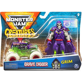 Monster Jam Grave Digger 1:64 Scale Monster Truck and Grim Creatures Action Figure Set