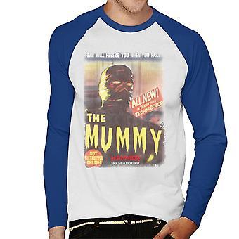 Hammer The Mummy 1959 Film Poster Men's Baseball Long Sleeved T-Shirt