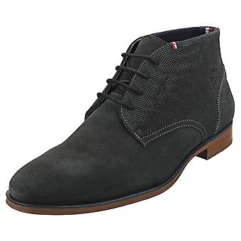 Tommy Hilfiger Casual Embossed Mens Chukka Boots in Green Grey
