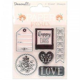 Dovecraft Papier Posies klare Briefmarken