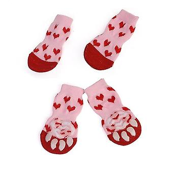 Cute Pet Knit Socks Slip-on Paw Protector 4pcs - Cat/small Dogs Cotton Anti