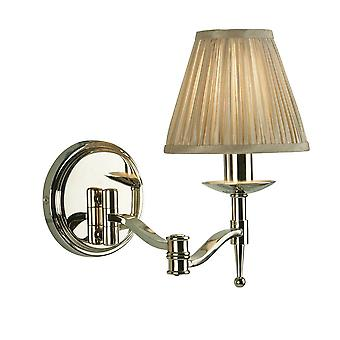 Swing Arm 1 Light Indoor Candle Wall Light Polid Nickel Plate with Beige Shade, E14