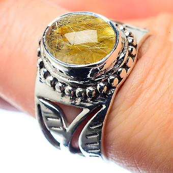 Rutilated Quartz Ring Size 7.25 (925 Sterling Silver)  - Handmade Boho Vintage Jewelry RING26582