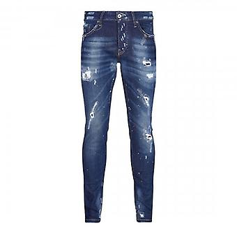 7th Hvn Rip & Repair Blue Tinted Skinny Jeans With Paint Marks S633