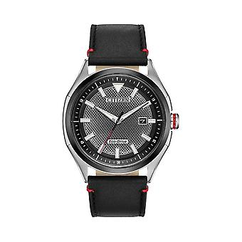 Citizen Watches Aw1148-09e Mens Eco-drive Sports Black Leather Strap Watch