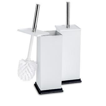 Square Steel Bathroom Toilet Brush & Holder Set - White - Pack of 2