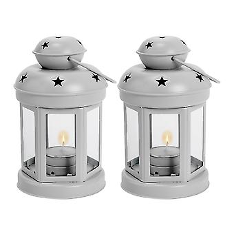 Nicola Spring Candle Lanterns Tealight Holders Metal Hanging Indoor Outdoor - 16cm - Grey - Set of 2