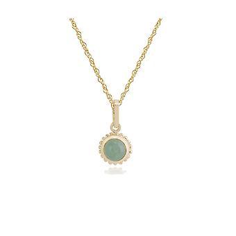 floral runde grønn jade cabochon bezel sett anheng halskjede i 9ct gult gull 135P1549039