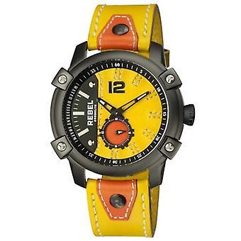 Rebel Men-apos;s RB121-6201 Weeksville Black IP Steel Yellow Leather Montre-bracelet