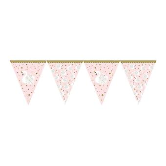 Swan Pink Gold Paper Flag Bunting - Party Decoration 3.7m