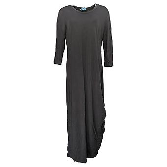 Soft & Cozy Dress Loungewear Luxe Knit 3/4-Sleeve Draped Gray 619-639