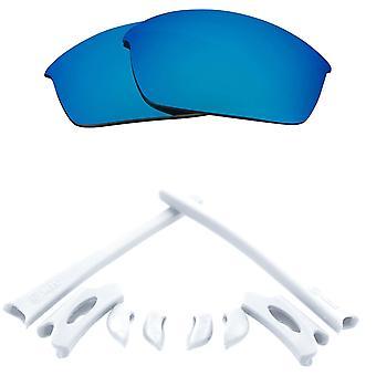 Polariserade ersättningslinser Kit för Oakley Flak Jacket Blå Spegel Vit Anti-Scratch Anti-Glare UV400 av SeekOptics