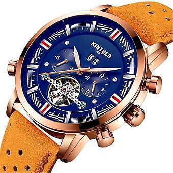 KINYUED JYD-J019 Blue Dial Case Kalender Automatische mechanische horloge lederen mannen