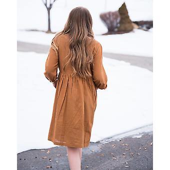 Sukienka chłopska Midi z guzikiem