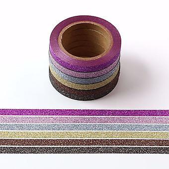 Skinny 5mm Non Shed Mini Glitter Washi Tape 6 rotoli di più colori