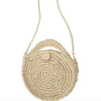 Small Round Cake Bag / Mori Girl Korean Handmade Straw Woven Bag Shoulder Messenger Handbag