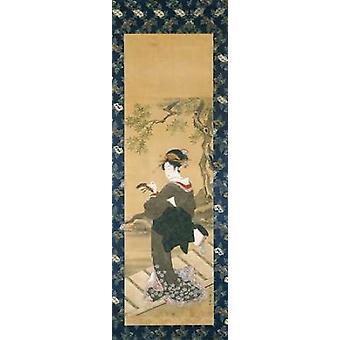 Portrett av en kvinne innstiller hennes Shamisen på en Veranda Poster trykk av det kjente Toyokuni