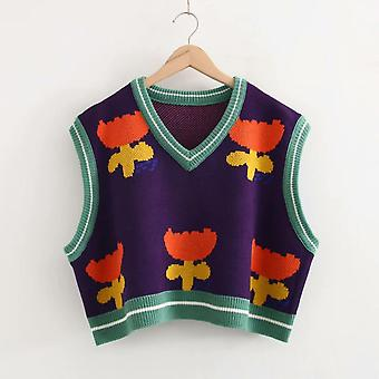Women's Floral Embroidery Knitted Sweaters Sleeveless Vest Winter Warm V-neck