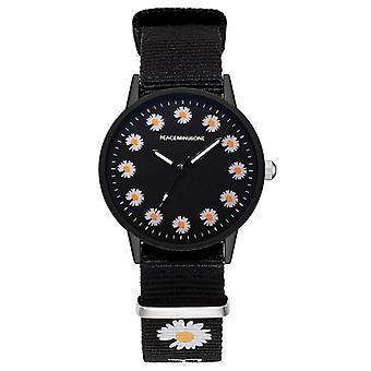 女性ファッションナイロンストラップドレスクォーツ小デイジー腕時計