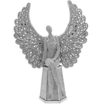 Silver Art Angel Sitting 14 Inch Ornament By Lesser & Pavey