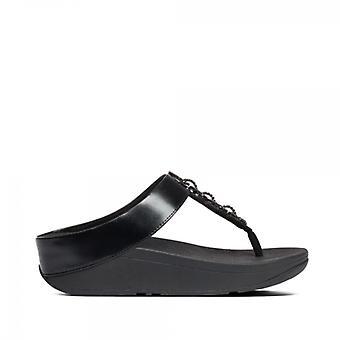 FitFlop Fino Sparkle Ladies Toe Post Sandal All Black