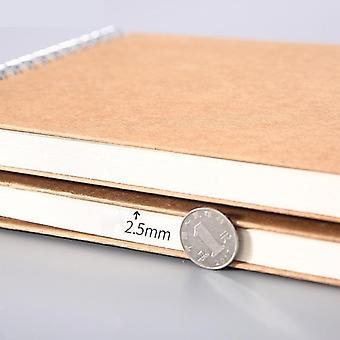 Khaki Sketchbook Spiral  Notebook  Inner Blank 160gsm Kraft Paper Cover School