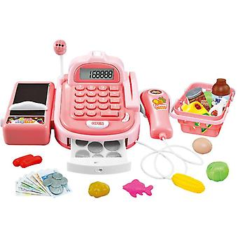 Toy Cash Register Playset Pretend Play Set For Kids Colorful Children's Supermarket Checkout