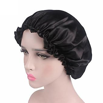 Hair Styling Fabric Hair Bonnet Satin Lined Sleep Cap Night Silk Bonnets