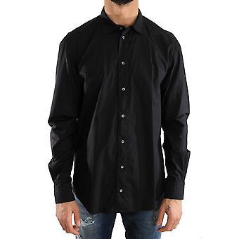 Dolce & Gabbana Black Formal Slim Fit Visible Button Cotton Shirt