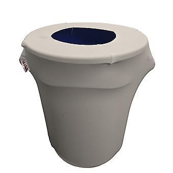 La Linen Stretch Spandex Trash Can Cover 32-Gallon Round,Light Grey
