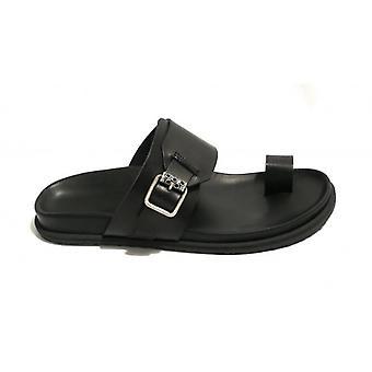 Men's Shoes Elite Ciabattona Finger In Leather Cow Col. Black Us18el23