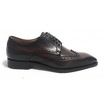 Men's Shoes Ben.ter Derby Brogue Brown Leather Moro Head Handmade Us18bt21