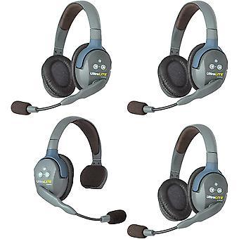 Eartec ul413 ultralite kaksisuuntainen kaksisuuntainen langaton kuulokeviestintä 4 käyttäjälle - 1 yksi korva ja 3 kaksi korvakuuloketta