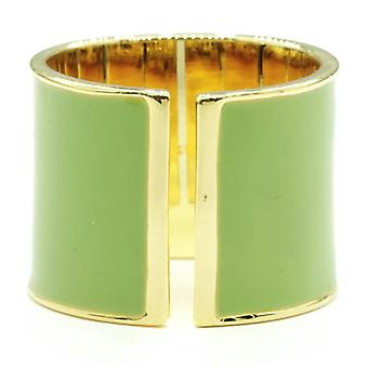 15mm Split Shank Cigar Band Ring Green Epoxy Gold Tone