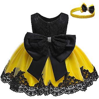 Bebé niñas Bowknot Tutu Party Vestidos con sombrero negro&amarillo