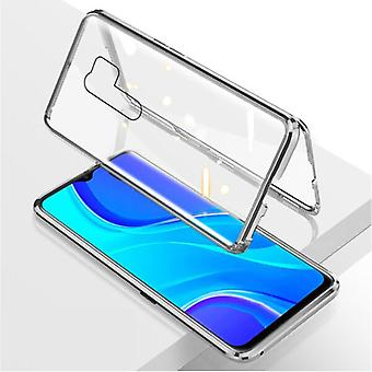 Stuff Certified® Xiaomi Poco X3 Pro Magnetic 360 ° Case with Tempered Glass - Full Body Cover Case + Screen Protector Silver