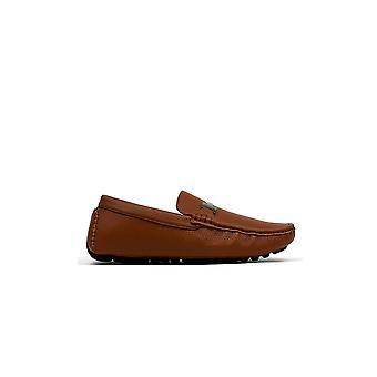 Men's Metal Bar Loafer Tan Grain Shoe