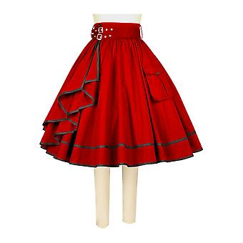 Chic Star Steampunk Full Skirt In Red
