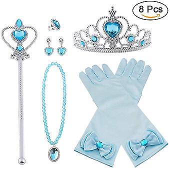 Wokex Prinzessin Kostme Zubehr, 8-teiliges Set Mdchen Dress up Zubehr mit 1 x Paar Elsa Handschuhe,