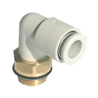 SMC Pneumatic Elbow Threaded-To-Tube Adaptateur, R 3/8 Mâle, Push In 6Mm