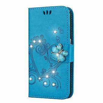 Butterfly pattern shiny leather case for Honor 8 - blue