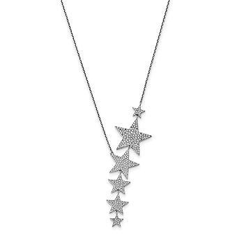 925 Sterling Silver CZ Cubic Zirconia Simulerad diamant med 2in Ext. Star Necklace 16 tum Smycken Gåvor för kvinnor
