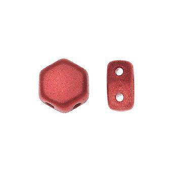 Czech Glass Honeycomb Beads, 2-Hole Hexagon 6mm, 30 Pieces, Chalk Lava Red